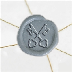 "Self Adhesive Symbol Wax Seal Stickers  1 1/4"" - Crossed Keys"