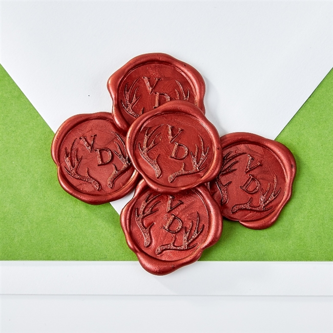 "Optimus Initials with Antlers Adhesive Wax Seals - 1 1/4"" Monograms"