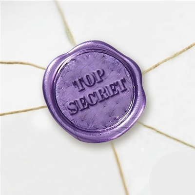 "Self Adhesive Symbol Wax Seal Stickers  1 1/4"" - Top Secret"
