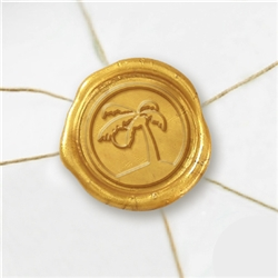 "Self Adhesive Symbol Wax Seal Stickers  1 1/4"" - Palm Tree"