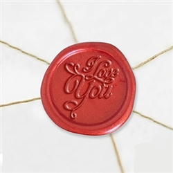 "Self Adhesive Symbol Wax Seal Stickers  1 1/4"" - I Love You"