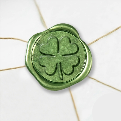 "Self Adhesive Symbol Wax Seal Stickers  1 1/4"" - Shamrock"