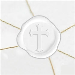 "Self Adhesive Symbol Wax Seal Stickers  1 1/4"" - Cross"