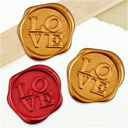 "Adhesive Wax Seal Stickers 25PK - 1"" LOVE"
