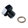 Fragola -12 AN 1-1/16-12 Thread O-Ring Boss Plug Black