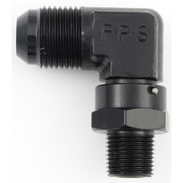 "Fragola 1/8"" NPT to 4 AN Male Swivel 90 Degree Black"