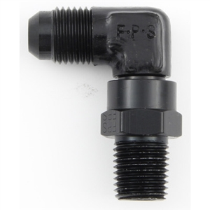 "Fragola 1/4"" NPT to 6 AN Male Swivel 90 Degree Black"