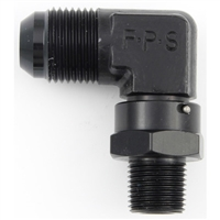 "Fragola 1/2"" NPT to 12 AN Male Swivel 90 Degree Black"