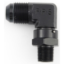 "Fragola 3/8"" NPT to 6 AN Male Swivel 90 Degree Black"