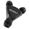 Fragola -12 AN Male Y Fitting With Dual 10 AN Outlets Black