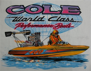 Vintage Cole Custom Boats T-Shirt with Pink Lettering