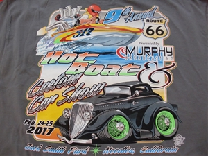 Route 66 Hot Boat & Car T-Shirt in Grey
