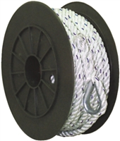 3/8 X 100 ft Premium 3-Strand Twisted Nylon Anchor Line White with Blue Tracer