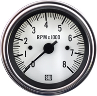 Stewart Warner Deluxe Electric Tachometer 8000 White