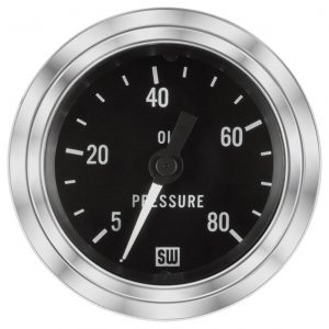 "2-1/16"" Stewart Warner Deluxe Oil Pressure Gauge 5 to 80 Mech"