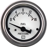 "2-1/16"" SW Deluxe Fuel Pressure Gauge 0 to 16 White"