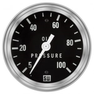 "2-5/8"" Stewart Warner Deluxe Oil Pressure Gauge 5 to 100 Mech"