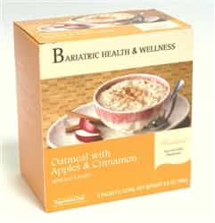 Seven packets of low calorie, tasty oatmeal mix with apple and cinnamon flavor.