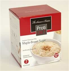 One box with seven packets of maple oatmeal with 15 grams of protein and only 90 calories.