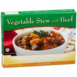 One box of microwaveable vegetable and beef stew.