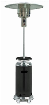 Black & Stainless Steel Patio Heater with Table