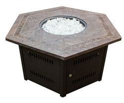 Hexagon Firepit with Faux Stone Top