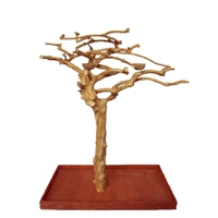 "Small Java Wood Tree. 48""x24""x66"" TRUNK, CROWN, BASE and 2 BOWLS"