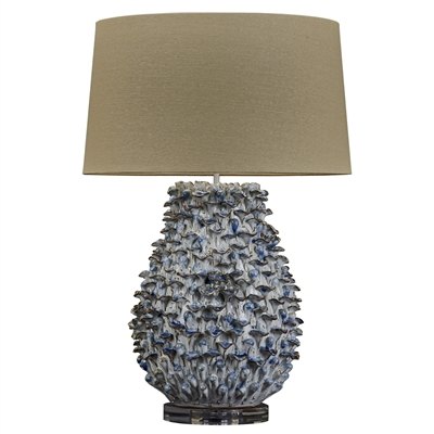 Blue and White Coral Ceramic Lamp