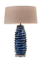 Layered Blue Coral Ceramic Lamp L470B
