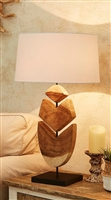 Natural Acacia Wooden Lamp Feather Design L681