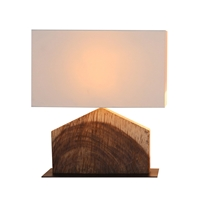 HOME SHAPED ACACIA WOOD TABLE LAMP