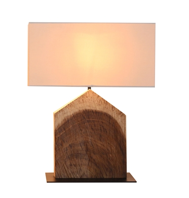 HOME SHAPED ACACIA WOOD TABLE LAMP L721B