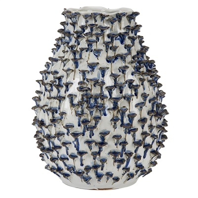 White and Navy Original Thai Ceramic Vase