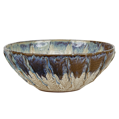 Oyster White & Indigo Blue Bowl V181