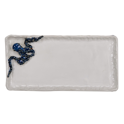 White & Blue Octopus Plate V206L
