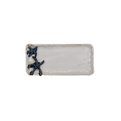 White & Blue Star Fish Plate V207S