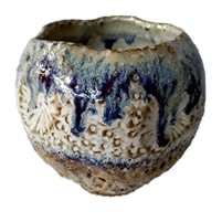 Blue &Tan-White Sand Dollar Vase  V226C