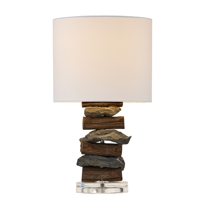 Mini Teak and Stone Lamp