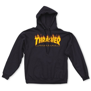 thrasher flame logo hood black thrasher magazine