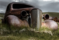 Old Rusted Car and Storm Clouds | Fine Art Print of Rusted Car in California Ghost Town