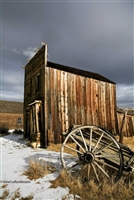 Wagon Wheel and Abandoned Building in Bodie | California Ghost Town Fine Art Photography