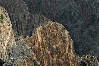 Downward view of steep cliffs in Black Canyon : Photography Prints