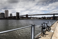 NYC Fine Art Photography Print of Brooklyn Bridge, Bikes & Skyline