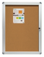 Enclosed Bulletin Board with Cork Surface and Aluminum Frame - 2 x 3' (feet)