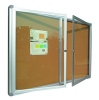 Enclosed Bulletin Board with Cork Surface and Aluminum Frame - 4 x 3' (feet)