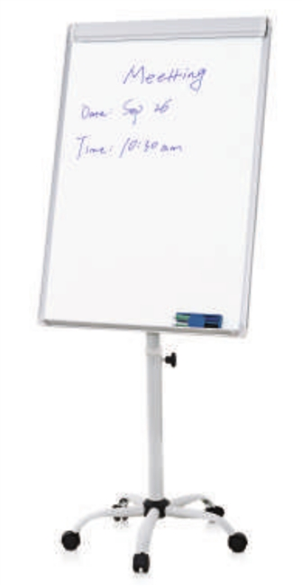 Flip Chart Easel with Whiteboard Magnetic Surface (rolling mobile stand) - 2 x 3' (feet)