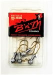 B 'n' M Unpainted Ball Head Jigs w/ Weedless Hook (T3-14)