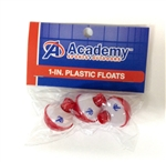"Academy 1"" red and white plastic floats (T6-3)"