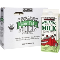 Kirkland Organic Milk, 1% Low Fat, Half Gallon, 3 ct