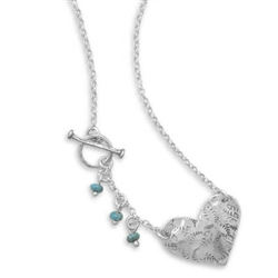 "17"" S.S. HEART TOGGLE NECKLACE WITH TURQUOISE BEADS"